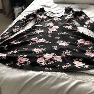 Long sleeve floral high waist dress L